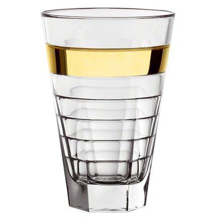Стакан высокий, с золотой полосой (430 мл)Стаканы<br>Стакан высотой 14.5 см пригодится для подачи прохладительных напитков: соков, минеральной воды или газированных напитков со льдом. Его изящная форма и приятный дизайн гармонируют с любой сервировкой стола.<br><br>Серия: Baguette