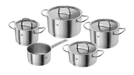 Набор кастрюль Zwilling Prime, 5 пр.Посуда<br>Хорошо укомплектованные набор посуды из нержавеющей стали – мечта каждой хозяйки. Здесь есть все, что нужно для приготовления любых блюд в подходящем объеме. Вы всегда сможете подобрать кастрюлю нужного диаметра и объема для приготовления первого блюда, компота или гарнира.<br><br>Серия: Zwilling Prime<br>Состав: Кастрюля, 16 см, Кастрюля, 20 см, Кастрюля, 24 см, Ковш, 16 см, Сотейник, 20 см