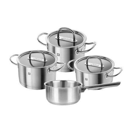 Набор кастрюль Zwilling Prime, 4 пр.Посуда<br>Набор посуды из двух кастрюль разного диаметра, сотейника и ковша - удобный и практичный вариант для семьи из 3-4 человек. В посуде из этого комплекта вы сможете приготовить различные супы, вторые блюда, гарниры и соусы, разогреть небольшую порцию уже готовых блюд.<br><br>Серия: Zwilling Prime<br>Состав: Кастрюля, 16 см (2.4 л), Кастрюля, 20 см (4.0 л), Ковш, 16 см (1.8 л), Сотейник, 20 см (3.0 л)