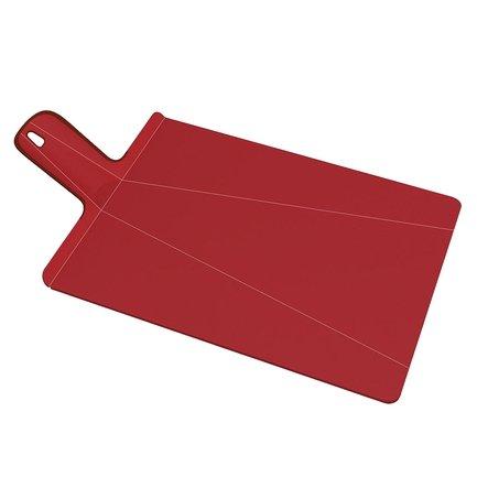 Разделочная доска Нарежь и положи 38х21 см, краснаяРазделочные доски<br>Благодаря оригинальной конструкции на этой необычной разделочной доске - трансформере вы сможете не только нарезать любые продукты, но и аккуратно донести измельченную массу до кастрюли или салатника. Для этого нужно просто согнуть доску с краев. Она примет форму лопатки с высокими бортиками, и не один кусочек не упадет мимо посуды. Ее поверхность изготовлена из качественного пластика, о который не тупятся ножи. А ручка с отверстием для подвешивания прокрыта специальным материалом, поэтому доска хорошо лежит в руке и не выскальзывает из пальцев. Можно мыть в посудомоечной машине.<br>