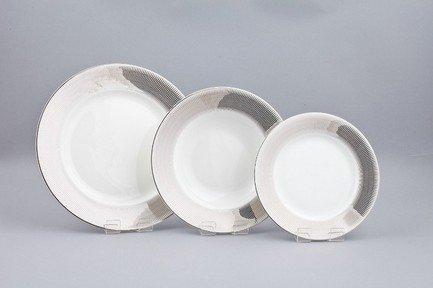 Набор тарелок Эридан на 6 персон, 18 пр.Тарелки и Блюдца<br>Набор элегантных тарелок из 18 предметов на 6 персон. Идеален для торжественной сервировки стола. Каждая тарелка в наборе выполнена с прекрасным вкусом и изяществом. Тонкое исполнение подчеркивает удивительную природную красоту фарфора.<br><br>Серия: Эридан<br>Состав: Тарелка подстановочная - 6 шт.,  Тарелка суповая - 6 шт., Тарелка закусочная - 6 шт.