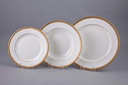 Набор тарелок Лотос на 6 персон, 18 пр.Тарелки и Блюдца<br>Набор элегантных тарелок из 18 предметов на 6 персон. Идеален для торжественной сервировки стола. Каждая тарелка в наборе выполнена с прекрасным вкусом и изяществом. Тонкое исполнение подчеркивает удивительную природную красоту фарфора.<br><br>Серия: Лотос<br>Состав: Тарелка подстановочная - 6 шт.,  Тарелка суповая - 6 шт., Тарелка закусочная - 6 шт.
