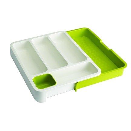Раздвижной лоток под столовые приборы, 37х28x5 см, зеленыйКухонные аксессуары<br>Этот кухонный органайзер - практичное и разумное решение для хранения столовых приборов и кухонных аксессуаров. Благодаря своей уникальной раздвижной конструкции он подходит для ящиков различного размера. Его ширина варьируется от 28 до 48 см. Органайзер очень продуманный, поэтому в него вы сможете положить абсолютно все. Для столовых приборов есть 4 вместительных отсека, в большом выдвижном отделе можно хранить ножи и различные аксессуары. Различную кухонную мелочь типа насадок на кондитерские шприцы, можно хранить в маленьком съемном отсеке.<br>