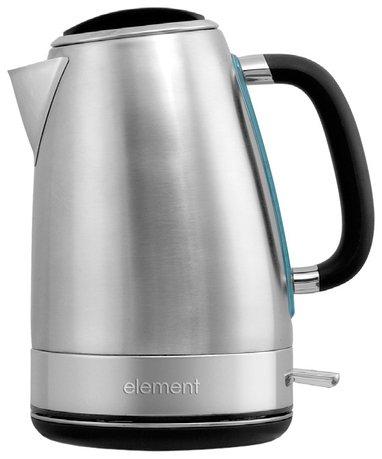 Чайник электрический ElKettle metal (1.7 л), черныйЧайники электрические<br>Электрический чайник в стильном стальном корпусе практичен и прост, что очень удобно для частого использования. В этой модели из нержавеющей стали изготовлен не только сам корпус, но и встроенный сетчатый фильтр, который задерживает накипь. Ручка чайника изогнута так, чтобы при его снимании с базы пальцы не могли случайно дотронуться до корпуса. Кроме того, она прорезинена, поэтому остается холодной во время кипячения воды, а пальцы по ней не скользят. Сталь с матовым блеском хорошо сочетается с деталями черного цвета. Кроме того во время работы чайник симпатично подсвечивается. С этой подсветкой вам будет удобнее следить за уровнем воды в чайнике и процессом ее кипячения. Центр тяжести прибора смещен в сторону его носика, что очень удобно при наливании воды. Даже с наполненным до максимума чайником вы легко направите поток воды в чашку.     Характеристики:   Мощность: 2200 Вт  Объем: 1.7 л  Тип нагревательного элемента: закрытый<br>