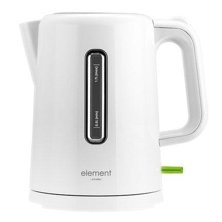 Чайник электрический ElKettle plastic (1.7 л), белыйЧайники электрические<br>Эта модель чайника ElKettle практична и удобна, подойдет для использования дома и в офисе. Чайник в пластиковом корпусе рассчитан на максимальный объем 1.7 л, что подходит для большой компании домочадцев или сотрудников. Вода в нем кипятится быстро, довольно тихо и безопасно благодаря встроенной в базу нагревательной спирали закрытого типа. Чайник удобно снимать с базы, его ручка очень эргономична. В процесс кипячения кнопка включения подсвечивается.     Характеристики:   Мощность: 2200 Вт  Объем: 1.7 л  Тип нагревательного элемента: закрытый<br>