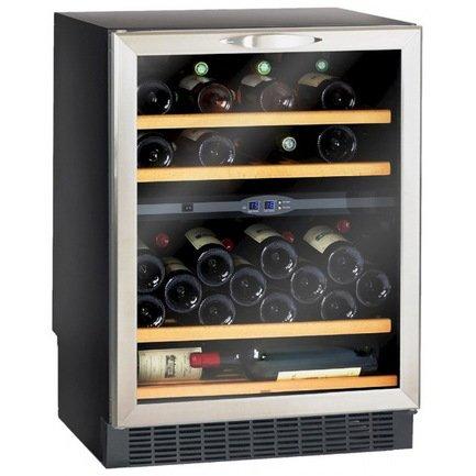 Шкаф для хранения вина на 50 бутылок, встраиваемыйВинные шкафы<br>Основные характеристики  Отдельно стоящий  Встраиваемый  Кол-во температурных зон: двухзонный  Вместимость: 50 бут.  Система охлаждения: компрессорная  Температурный режим: от 5 до 18°C  Стеклянные двери  Дверной упор: петли справа  Перенавешиваемые двери  Напряжение: 220 В  Климатический класс N: +16...32 °С  Ширина: 595 мм  Глубина: 575 мм  Высота: от 820 до 870 мм  Высота (в упаковке): 875 мм  Вес (без упаковки): 50 кг  Вес (с упаковкой): 54 кг  Цвет: черный  Технические особенности  Антивибрационная система  5 деревянных полок  Белая светодиодная подсветка  Дверная рамка из нержавеющей стали  Дверь с двойным анти-УФ стеклопакетом  4 регулируемые ножки  Класс энергоэффективности: C  Уровень шума: 44 дБ  Потребляемая мощность: 0,01 кВт  Потребление электроэнергии: 235 кВт/год  Габариты в упаковке: 655х665х875 мм<br><br>Серия: Climadiff