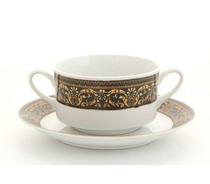 Набор чашек для супа Сабина Версаче Классик (0.3 л) с блюдцем, 6 шт.Салатницы, Супницы<br>Изящные чашки для супа с двумя аккуратными ручками и удобным подстановочным блюдцем – прекрасный выбор для эффектного оформления стола. Эти элегантные чашки прекрасно подходят для подачи бульонов и супов-пюре.<br><br>Серия: Сабина Версаче Классик