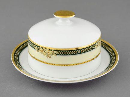 Масленка круглая Сабина Золотые фрукты (0.25 кг)Масленки<br>Эта изящная круглая масленка прекрасно дополнит сервировку стола. Масло в элегантной фарфоровой масленке всегда накрыто крышкой и не портится, а на столе выглядит аккуратно и красиво.<br><br>Серия: Сабина Золотые фрукты