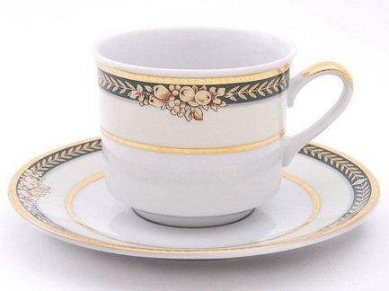 Набор чашек Сабина Золотые фрукты (0.2 л), с блюдцами, 4 шт.