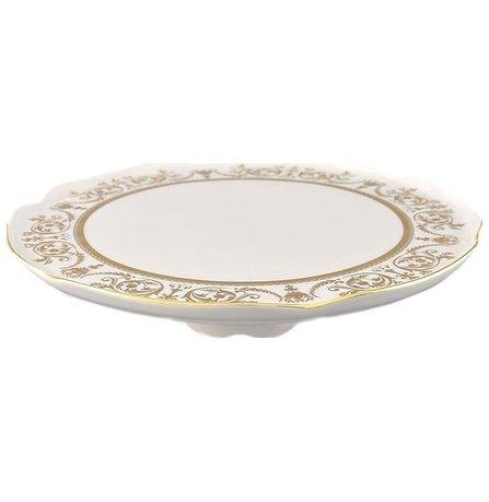 Тарелка для торта на ножке Сабина Золотой орнамент, 28 см