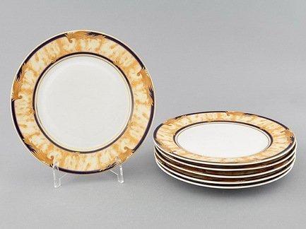 Набор тарелок десертных Сабина Золотые листья, 19 см, 6 шт.