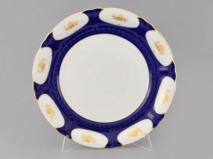 Блюдо круглое Соната Темно-синий орнамент с золотом, мелкое, 32 см