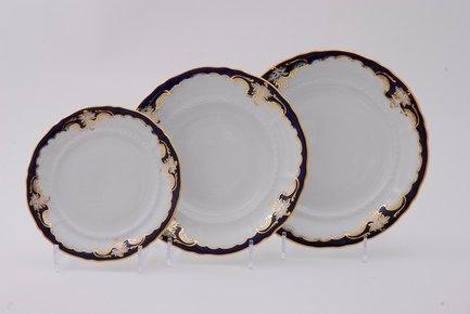 Набор тарелок Соната Темно-синяя окантовка с золотом, 18 пр. от Superposuda