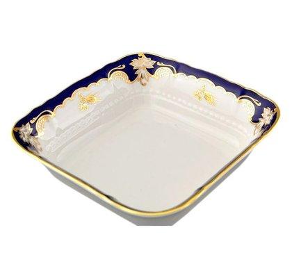 Салатник квадратный Соната Темно-синяя окантовка с золотом, 17х17 см