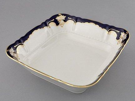Салатник квадратный Соната Темно-синяя окантовка с золотом, 25х25 см
