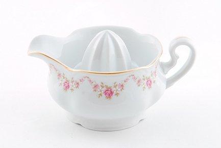 Отжим для лимона Соната Розовая нитьЧайные аксессуары<br>Оригинальная чашка-отжим для лимона украшена изящным декором. В этой чашке вы легко и аккуратно отожмете сок из лимона для чая, кондитерского крема или соуса, а также подадите его к столу.<br><br>Серия: Соната Розовая нить