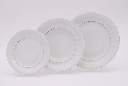 Набор тарелок Соната Тонкое золото, 18 пр.Тарелки и Блюдца<br>Эти изящные тарелки помогут сервировать стол к обеду с отменным вкусом и неповторимым стилем. Набор рассчитан на 6 персон и состоит из суповых, обеденных и десертных тарелок.<br><br>Серия: Соната Тонкое золото<br>Состав: Тарелка суповая - 6 шт., Тарелка обеденная - 6 шт., Тарелка десертная, 19 см - 6 шт.