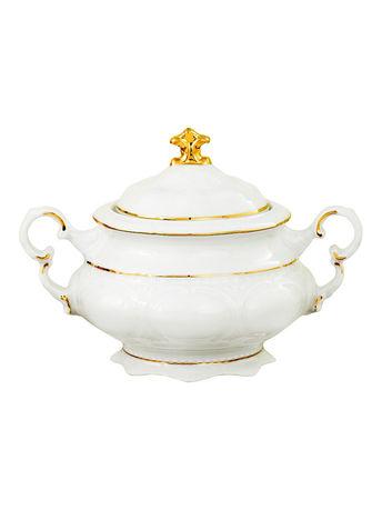 Сахарница Соната Тонкое золото (0.35 л), 2 ручкиСахарницы<br>Красивая и удобная сахарница с крышкой и двумя ручками прекрасно впишется в сервировку любого стола. Эта изящная сахарница может использоваться для домашних чаепитий и для торжественных мероприятий.<br><br>Серия: Соната Тонкое золото