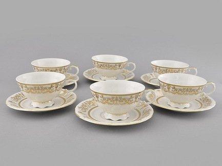 Набор чашек низких Соната Золотая элегантность (0.2 л) с блюдцами, 6 шт.