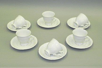 Набор чашек высоких Соната Белоснежная классика (0.15 л) с блюдцами, 6 шт.