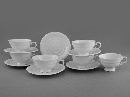 Набор чашек низких Соната Белоснежная классика (0.2 л) с блюдцами, 6 шт.