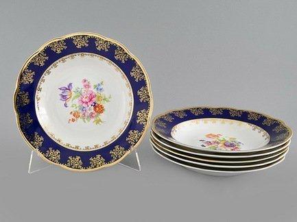 Набор тарелок глубоких Мэри-Энн Темно-синяя окантовка с цветами, 23 см, 6 шт.
