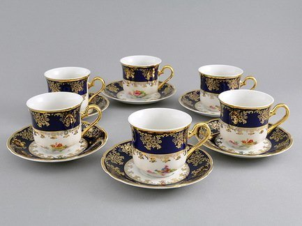 Набор чашек высоких Мэри-Энн Темно-синяя окантовка с цветами (0.15 л), с блюдцами, 6 шт.