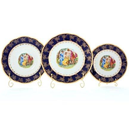 Набор тарелок Мэри-Энн Темно-синяя окантовка с пасторалью, 18 пр.Тарелки и Блюдца<br>Эти изящные тарелки помогут сервировать стол к обеду с отменным вкусом и неповторимым стилем. Набор рассчитан на 6 персон и состоит из суповых, обеденных и десертных тарелок.<br><br>Серия: Мэри-Энн Темно-синяя окантовка с пасторалью<br>Состав: Тарелка суповая - 6 шт., Тарелка обеденная - 6 шт., Тарелка десертная, 19 см - 6 шт.