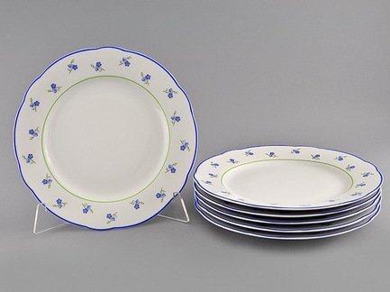 Набор тарелок мелких Мэри-Энн Незабудки, 25 см, 6 шт.Тарелки и Блюдца<br>Изящные обеденные тарелки прекрасно впишутся в сервировку любого стола. Тарелки идеально подходят для подачи второго блюда: гарнира и горячего на 6 персон.<br><br>Серия: Мэри-Энн Незабудки