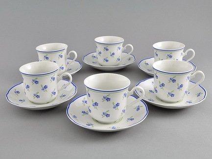 Набор чашек высоких Мэри-Энн Незабудки (0.2 л) с блюдцами, 6 шт.