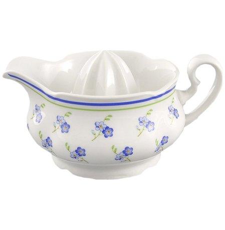 Отжим для лимона Мэри-Энн НезабудкиЧайные аксессуары<br>Оригинальная чашка-отжим для лимона украшена изящным декором. В этой чашке вы легко и аккуратно отожмете сок из лимона для чая, кондитерского крема или соуса, а также подадите его к столу.<br><br>Серия: Мэри-Энн Незабудки