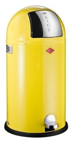 Мусорный контейнер Kickboy (40 л), лимон (117585)Мусорные баки<br>Этот вместительный, стильный контейнер идеально подойдет для кухни, ванной, загородного дома, балкона, террасы, а также бара или ресторана. Оптимальный выбор для большой семьи. Корпус контейнера выполнен из высококачественной нержавеющей стали, покрытой стойкой краской. Внутреннее мусорное ведро изготовлено из гальванизированной огнестойкой стали и снабжено плотным резиновым кольцом для надежной фиксации мусорных мешков. На корпусе есть большая и удобная кнопка, при нажатии на которую легко открывается крышка контейнера.<br><br>Серия: Kickboy