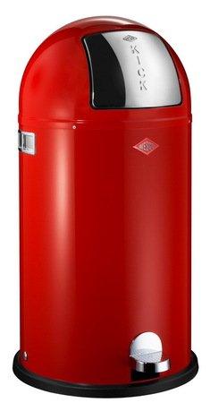 Мусорный контейнер Kickboy (40 л), красный (117582)Мусорные баки<br>Этот вместительный, стильный контейнер идеально подойдет для кухни, ванной, загородного дома, балкона, террасы, а также бара или ресторана. Оптимальный выбор для большой семьи. Корпус контейнера выполнен из высококачественной нержавеющей стали, покрытой стойкой краской. Внутреннее мусорное ведро изготовлено из гальванизированной огнестойкой стали и снабжено плотным резиновым кольцом для надежной фиксации мусорных мешков. На корпусе есть большая и удобная кнопка, при нажатии на которую легко открывается крышка контейнера.<br><br>Серия: Kickboy