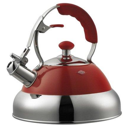 Чайник Retro Style (2 л), красный (340521-02)Чайники<br>Стильный вместительный чайник из стали, покрытой термостойким лаком красного цвета, предназначен для кипячения воды. Ручка имеет красную силиконовую накладку и кнопку для безопасного снятия свистка с носика.<br><br>Серия: Kettle CL