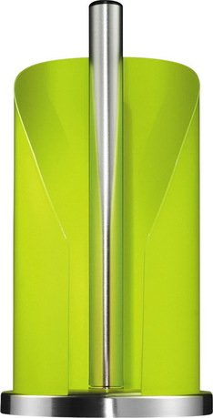 Держатель бумаги, 15.5х30 см, зеленый лаймКухонные держатели и рейлинги<br>Этот стильный держатель для кухонных полотенец очень удобен в использовании. Бумажный рулон надежно прячется в корпусе из лакированной нержавеющей стали, сбоку которого есть отверстие для аккуратного отрыва полотенца. Декоративное кольцо в основании обеспечивает устойчивость держателя. Оригинальный держатель с полотенцами прекрасно впишется в интерьер любой кухни.  Размеры (ДхШхВ): 15.5х15.6х30 см.<br>