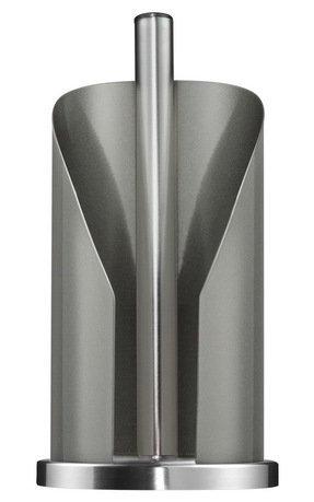 Держатель для бумажных полотенец, серыйКухонные держатели и рейлинги<br>Этот стильный держатель для кухонных полотенец очень удобен в использовании. Бумажный рулон надежно прячется в корпусе из лакированной нержавеющей стали, сбоку которого есть отверстие для аккуратного отрыва полотенца. Декоративное кольцо в основании обеспечивает устойчивость держателя. Оригинальный держатель с полотенцами прекрасно впишется в интерьер любой кухни.  Размеры (ДхШхВ): 15.5х15.6х30 см.<br>