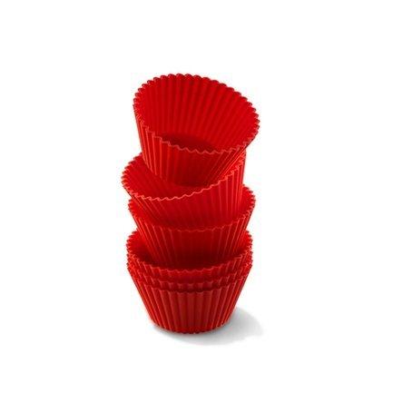 Набор силиконовых форм для маффинов, 7 см, 6 шт., круглые, красные Silikomart CUP01