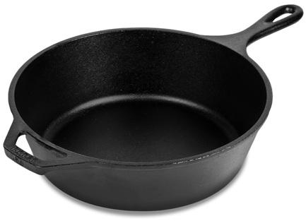 Сковорода круглая глубокая, 30 см, с двумя ручкамиСотейники<br>Вместительный и глубокий сотейник (высота - 7.6 см) очень удобен для приготовления больших порций гуляша, бефстроганова, рагу и соте. В нем вы сможете тушить и томить, обжаривать и жарить мясо, овощи и рыбу. Блюда в сотейнике получаются нежнее и сочнее, чем при приготовлении в традиционной невысокой скороде. Крепкий чугун, из которого изготовлена эта посуда, прогревается медленно и равномерно и долго держит тепло. Вспомогательная маленькая ручка помогает перемещать довольно тяжелый сотейник с приготовленным блюдом.<br><br>Серия: Lodge Неэмалированный чугун