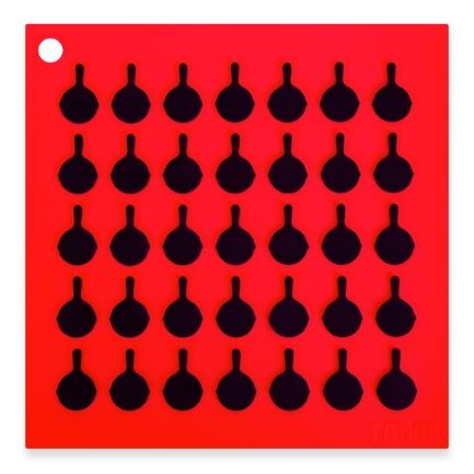 Подставка квадратная с логотипом сковороды, 19 см, красная