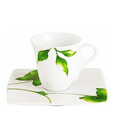 Чашка Vegetal с блюдцем для кофе (100 мл)Чашки и Кружки<br>Идеальная пара для подачи кофе. Небольшая по объему кружка правильной элегантной формы очень красиво смотрится на плоском квадратном блюдце.<br><br>Серия: Vegetal