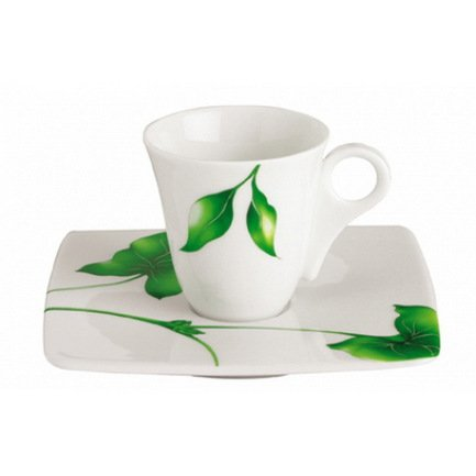 Чашка Vegetal с блюдцем для кофе (moka cup)Чашки и Кружки<br>Идеальная пара для подачи кофе. Кружка правильной элегантной формы очень красиво смотрится на плоском квадратном блюдце.<br><br>Серия: Vegetal