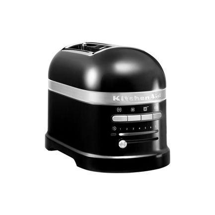 Тостер Artisan для 2 тостов, 5KMT2204EOB, черныйТостеры<br>Новый тостер Artisan – яркий и функциональный. Он универсален: разморозит, подогреет и подрумянит тосты и другую выпечку. Тостер в корпусе из литого алюминия продуман до последней мелочи и выполнен в фирменном «китченэйдовском» стиле. Встроенная металлическая конструкция подходит для всех видов хлебобулочных изделий. Отверстие решетки достаточно широкое, чтобы поджаривать не только привычные тостеры-слайсы, но всевозможные булочки и бейглы – большие бублики из заварного теста, которые так приятно намазывать мягким сыром и другими начинками.      Это модель для тех, кто ценит свое время и хочет через несколько мгновений получить мягкую и свежую выпечку с хрустящей корочкой, не прикладывая особых усилий. Здесь многие процессы автоматизированы. Благодаря автоматическому датчику тосты сами опускаются, подогреваются и поднимаются. Выбор степени поджарки был модифицирован и теперь он регулируется удобным светодиодным таймером.      Для любителей сэндвичей тостер комплектуется специальной зажимной решеткой, в которой бутерброды поджариваются очень равномерно. Это решетка позволяет начинять сэндвичи любой начинкой, так как плотно зажимает кусочки хлеба. Для булочек и бейглов лучше выбрать специальный режим, в котором эти изделия изнутри поджариваются, а снаружи подогреваются. Кроме того, вы легко можете готовить свежие и хрустящие тосты из замороженных полуфабрикатов, тостер Artisan правильно разморозит их и поджарит.      Характеристики:   Мощность: 1250 Вт  Размеры: 22.5 18 33 см  Вес: 5 кг  Поддон для крошек выдвижной  Гарантия: 5 лет<br><br>Состав: Решетка для сэндвичей зажимная