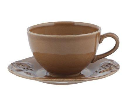 Чайная пара Mediterranea (250 мл), коричневая, покрытие глазурь