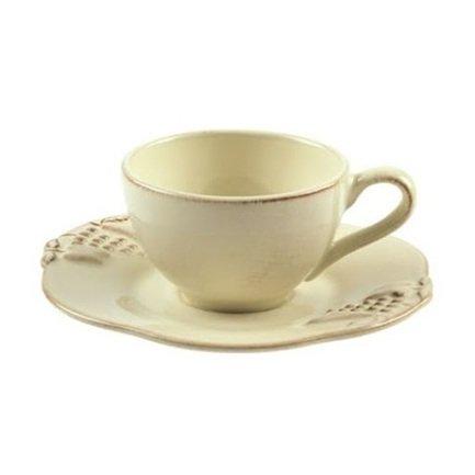 Кофейная пара Mediterranea (0.08 л), кремовая, покрытие глазурь