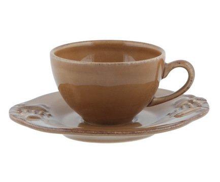 Кофейная пара Mediterranea (0.08 л), коричневая, покрытие глазурьЧашки и Кружки<br>Небольшая кофейная чашка и элегантное блюдце - прекрасный способ подать утренний кофе. Изготовленная из тонкой керамики кофейная пара изящно смотрится и обладает отменными практичными качествами. Вы можете не бояться повредить, например, ручку чашки неосторожным движением, ведь керамика не так хрупка, как фарфор. Вы можете подарить кофейную пару любителю этого напитка и это, безусловно, будет высоко оценено.<br><br>Серия: Mediterranea