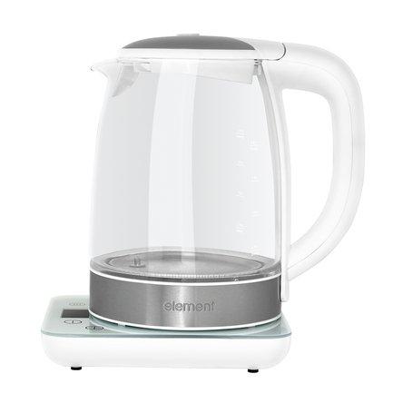 Чайник электрический ElKettle glass white (2 л), белыйЧайники электрические<br>Стеклянный чайник ElKettle – новинка от компании Element – стильный и функциональный. Эта модель совмещает в себе современные и актуальные функции. Первое, что привлекает внимание в этом чайнике, это его прозрачная колба. Изготовленная из боросиликатного стекла, она очень прочна, надежна и гигиенична. Колба отлично выдерживает высокую температуру при закипании воды и резкий перепад температур. Также стекло отличается стойкостью к ударам.     Управляется чайник сенсорной панелью. На ней вы можете задать нужную температуру от 45 до 99 в зависимости от ваших предпочтений и сорта чая, который нужно будет заварить. Чайник способен не только разогреть воду до нужной температуры за несколько секунд, но и поддерживать ее нагрев до 6 часов. Так вы избежите необходимости повторно кипятить воду. Модель оснащена программой дехлорирования воды, что особенно удобно для городских жителей. Выбранные показания можно увидеть на жидкокристаллическом экране. Об окончании нагрева сообщает звуковой сигнал таймера. Крышка чайника удобно раскрывается и герметично закрывается вручную.     Характеристики:   Мощность: 2200 Вт  Объем: 2 л  Тип нагревательного элемента: закрытый<br>