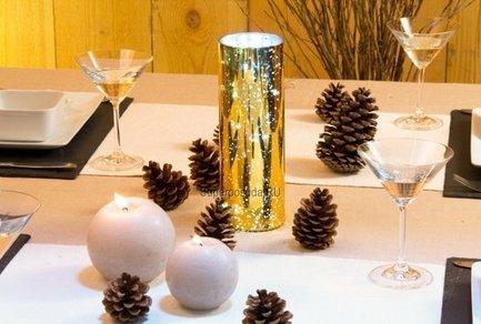 Золотая стеклянная ваза Glasslight LED, 24 см, 10 белых LED от Superposuda