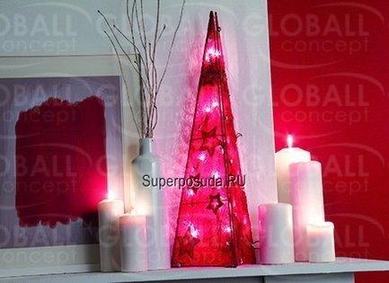 Светодиодный конус в сизале, 20 LED, красный, 60 смСветодиодные фигуры<br>Высокий светодиодный конус, изготовленный из натурального сизаля, – замечательное современное новогоднее украшение от бельгийской компании GlobAll Concept. Похожий на стройную елочку, светящийся конус будет замечательно смотреться на праздничном столе, и его мягкий теплый свет, отраженный в бокалах, поможет создать праздничное настроение.<br>