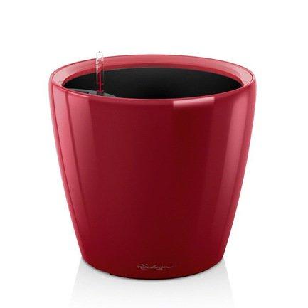 Кашпо Классико 43 LS, красное, с системой полива и съемным горшкомКашпо<br>Кашпо классической формы размером 43х40 см предназначено для посадки растений с высотой побегов до 100 см. Кашпо укомплектовано съемным горшком с объемом посадочной площади – 27.9 литра. Горшок с утапливаемыми ручками подобран под цвет горшка. Вместимость резервуара для воды съемного лотка – около 6 литров. Запатентованная система автополива обеспечивает растения питательными веществами и влагой, которые необходимы для их оптимального роста в течение 12 недель. Контролировать уровень воды удобно благодаря специальному индикатору. Съемный горшок легко вынимать и заменить на месте, а также удобно транспортировать и хранить.<br><br>Серия: Premium Classico