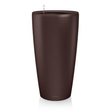 Кашпо Рондо 40, кофе, с системой поливаКашпо<br>Кашпо размером 40х75 см предназначено для посадки растений с высотой побегов до 100 см. Кашпо укомплектовано съемным горшком с объемом посадочной площади – 22 литра. Вместимость резервуара для воды съемного лотка – около 5.6 литров. Запатентованная система автополива обеспечивает растения питательными веществами и влагой, которые необходимы для их оптимального роста в течение 12 недель. Контролировать уровень воды удобно благодаря специальному индикатору. Съемный горшок легко вынимать и заменить на месте, его просто транспортировать и хранить.<br><br>Серия: Premium Rondo